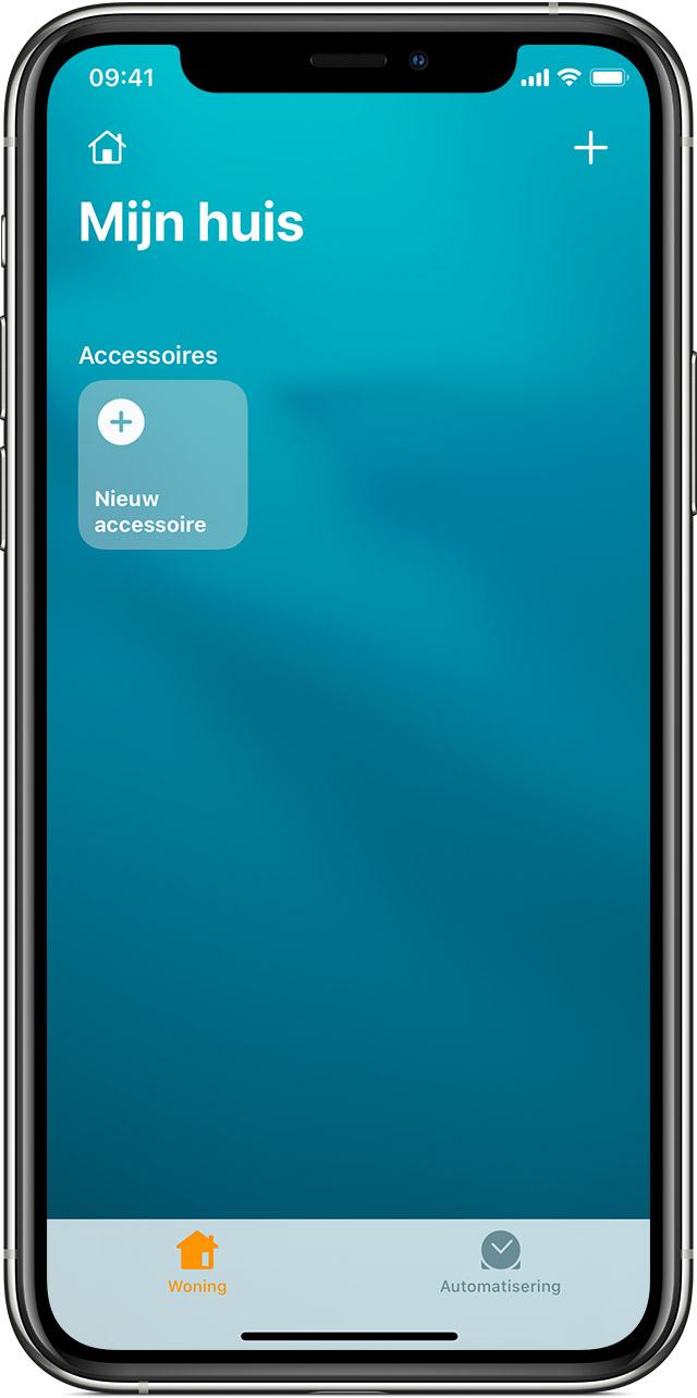 Scherm van de Woning-app in iOS met de tegel 'Nieuw accessoire'