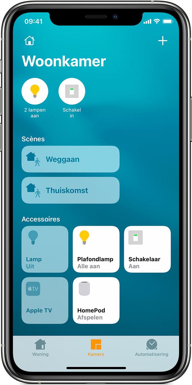 De Woning-app in iOS met 'Scènes' en 'Accessoires' in de woonkamer.