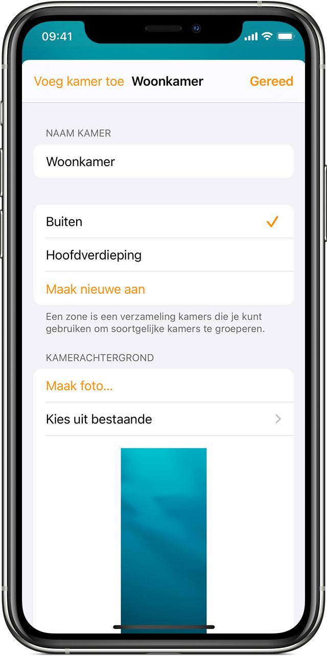 De Woning-app in iOS met de instellingen voor 'Woonkamer'.