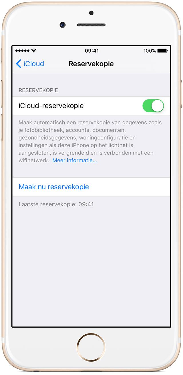 Schakel 'iCloud-reservekopie' in