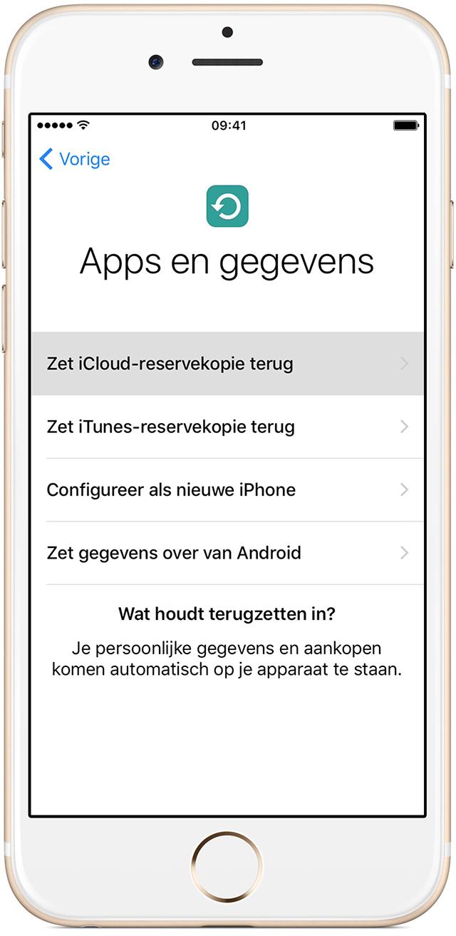 Een iCloud-reservekopie overzetten naar een nieuw apparaat