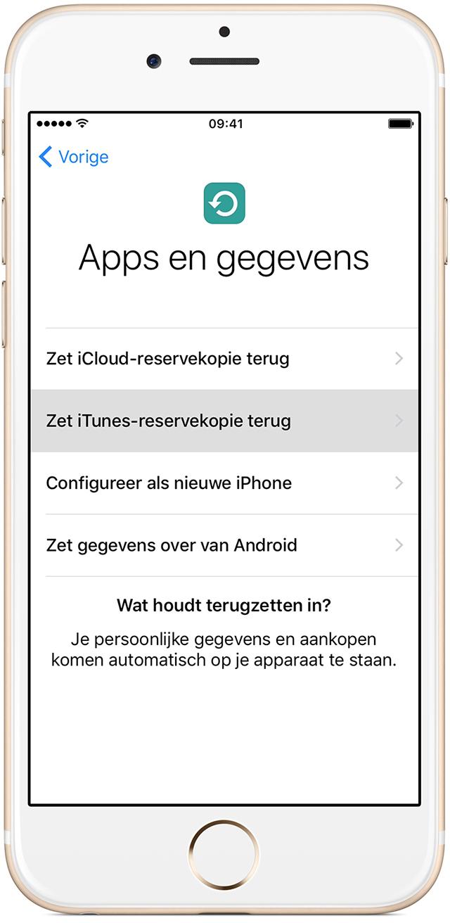 Een iTunes-reservekopie op een iPhone terugzetten