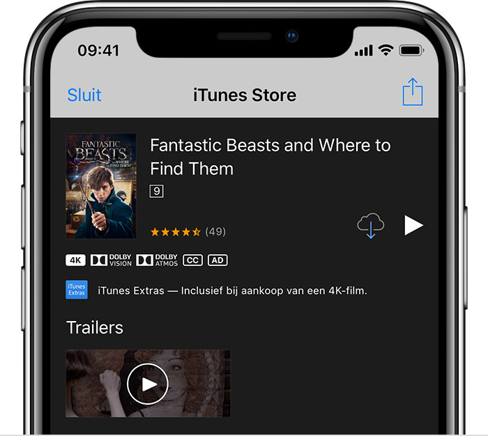 De informatiepagina van 'Justice League' in de iTunes Store op een iPhone