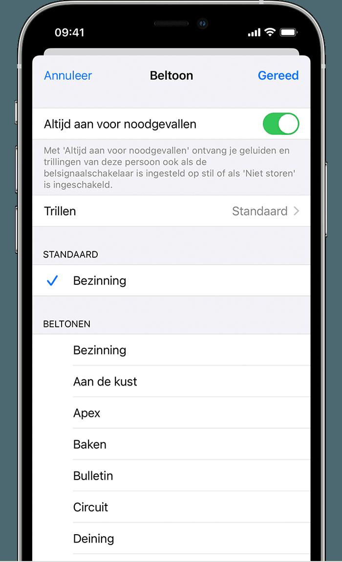 iPhone-scherm waarop u kunt zien hoe u 'Altijd aan voor noodgevallen' inschakelt