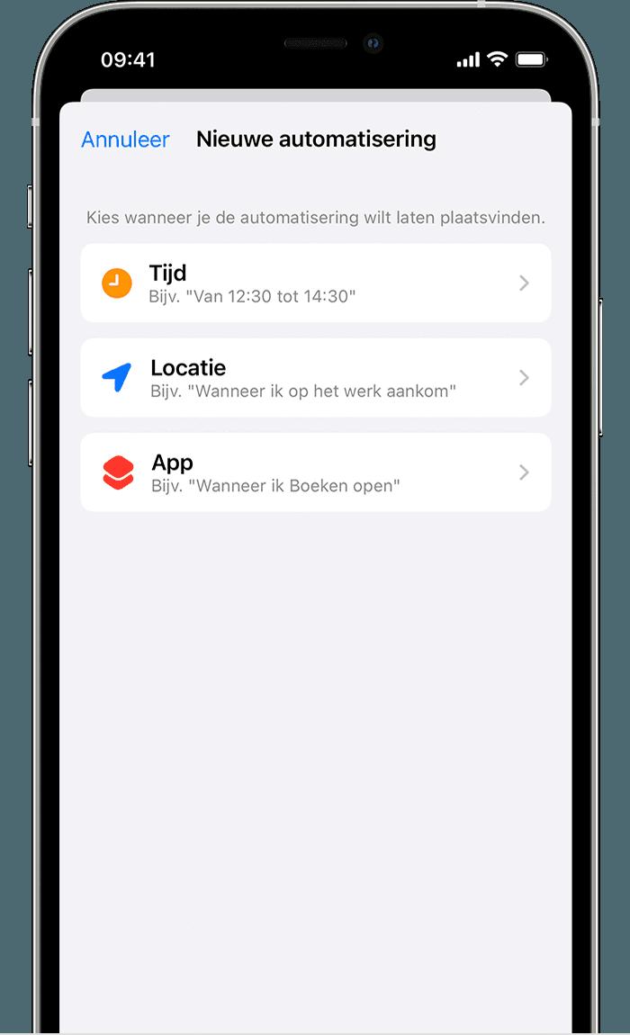 iPhone-scherm waarop de instellingen voor 'Nieuwe automatisering' voor Focus worden weergegeven