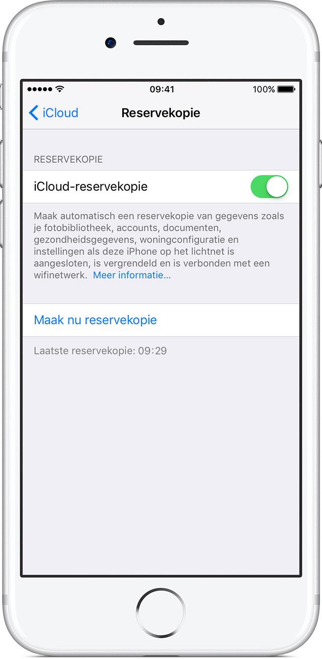 iCloud-reservekopie op een iPhone inschakelen