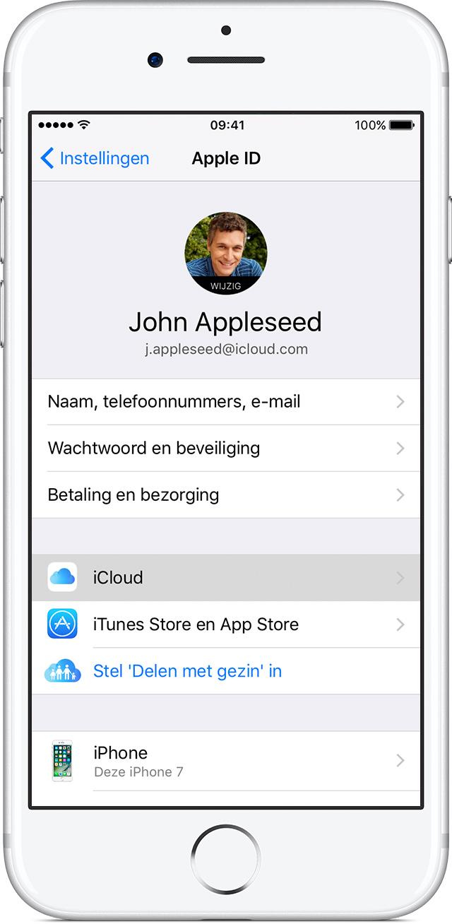 iCloud-instellingen op een iPhone