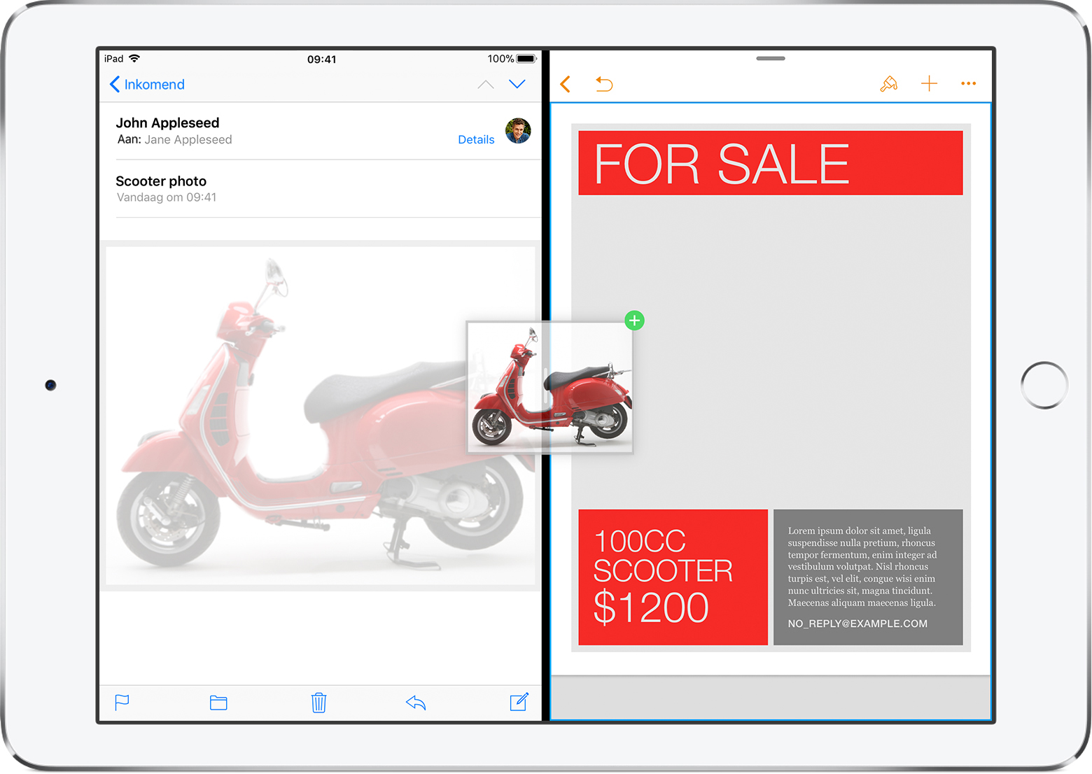 iPad met een e-mail en Keynote geopend in Split View
