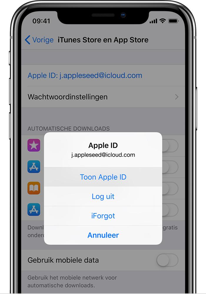 Het iTunes- en App Stores-scherm op de iPhone, met de optie 'Toon Apple ID'