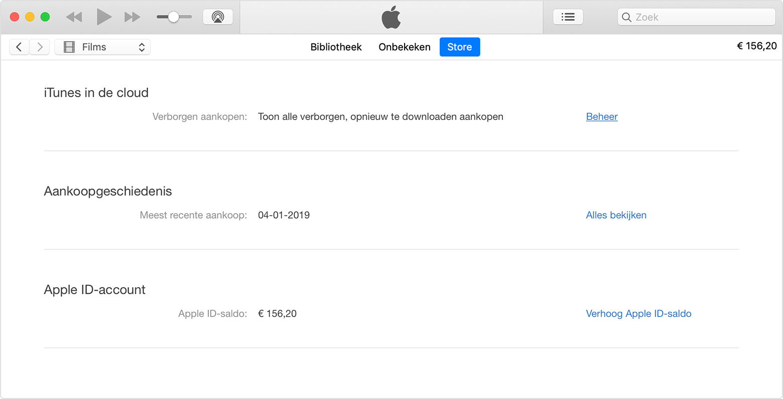 De pagina 'Accountinformatie' in iTunes.