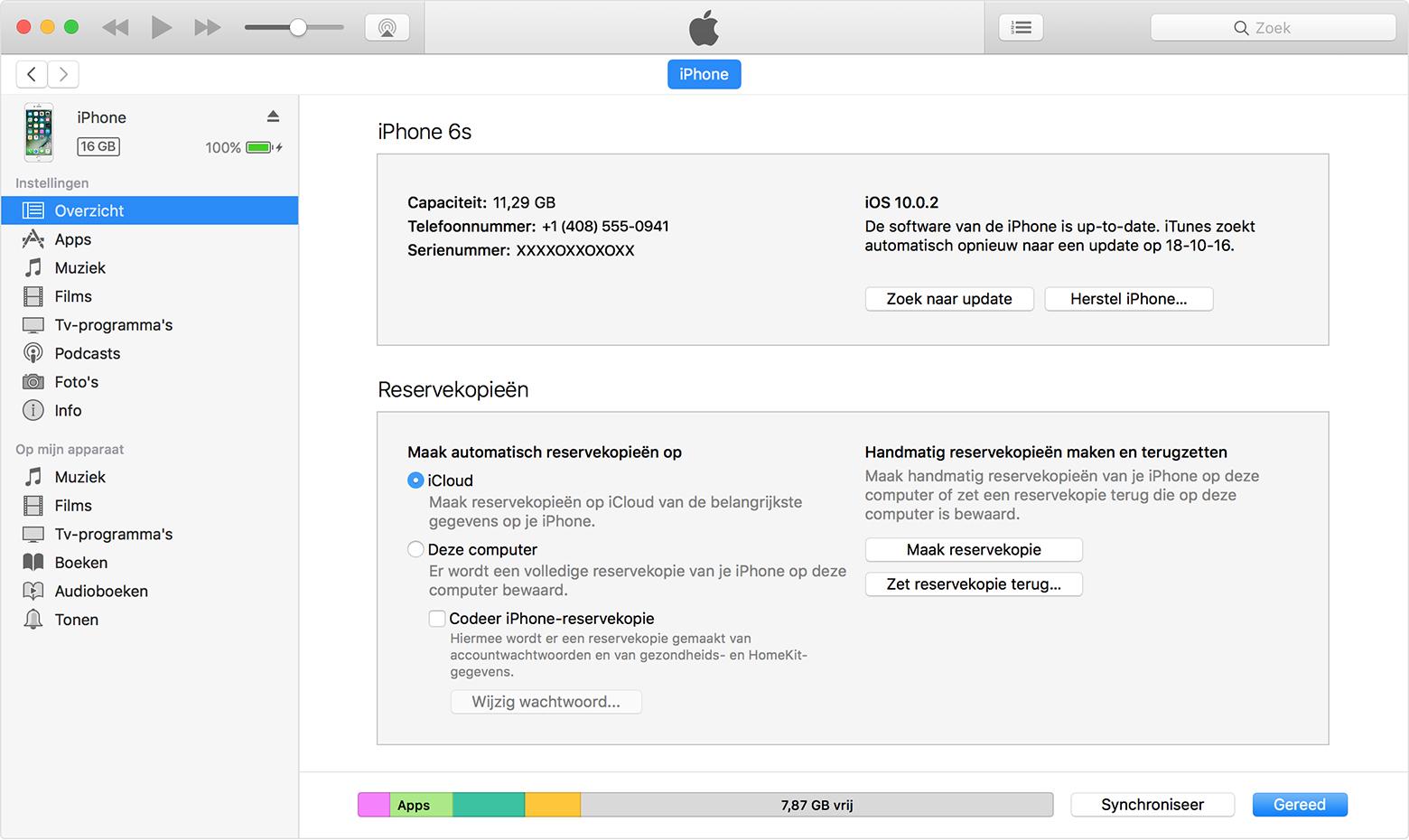 Een iTunes-reservekopie maken van een iPhone, iPad of iPodtouch