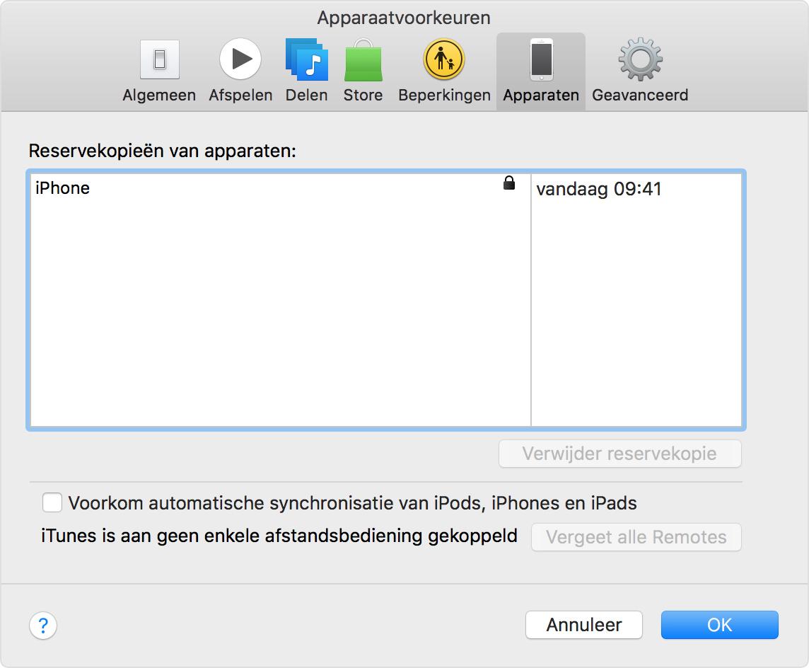 Een iOS-reservekopie in iTunes