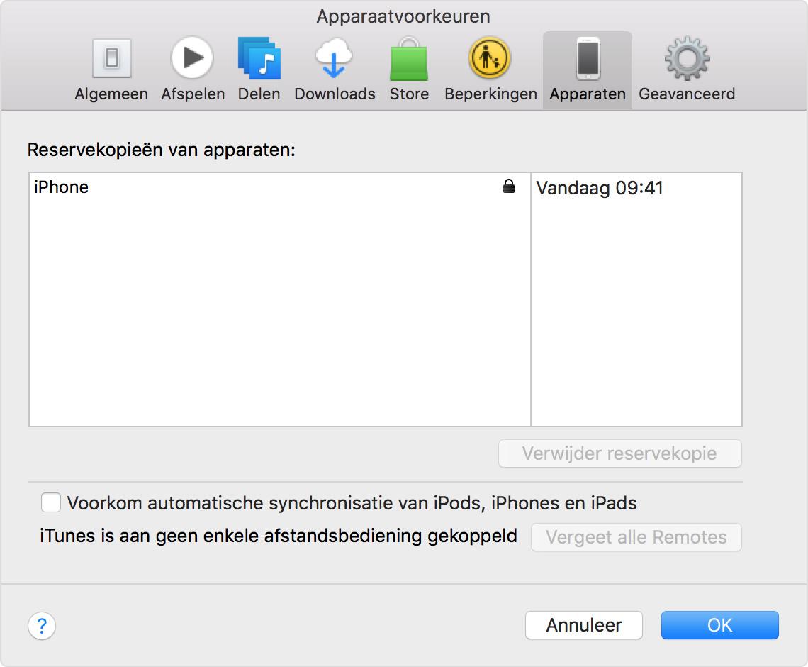 Pas gemaakte reservekopieën in iTunes zoeken via 'Voorkeuren' > 'Apparaten'