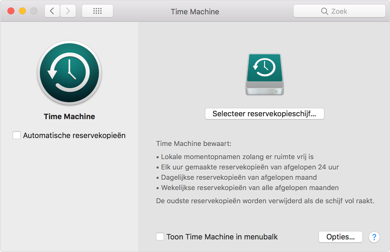 Time Machine-voorkeurenvenster