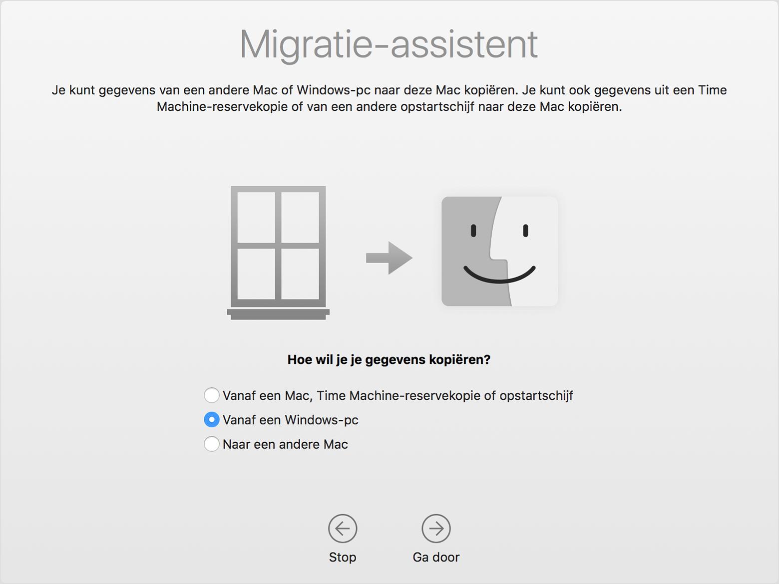 Een methode voor gegevensoverdracht kiezen in Migratie-assistent