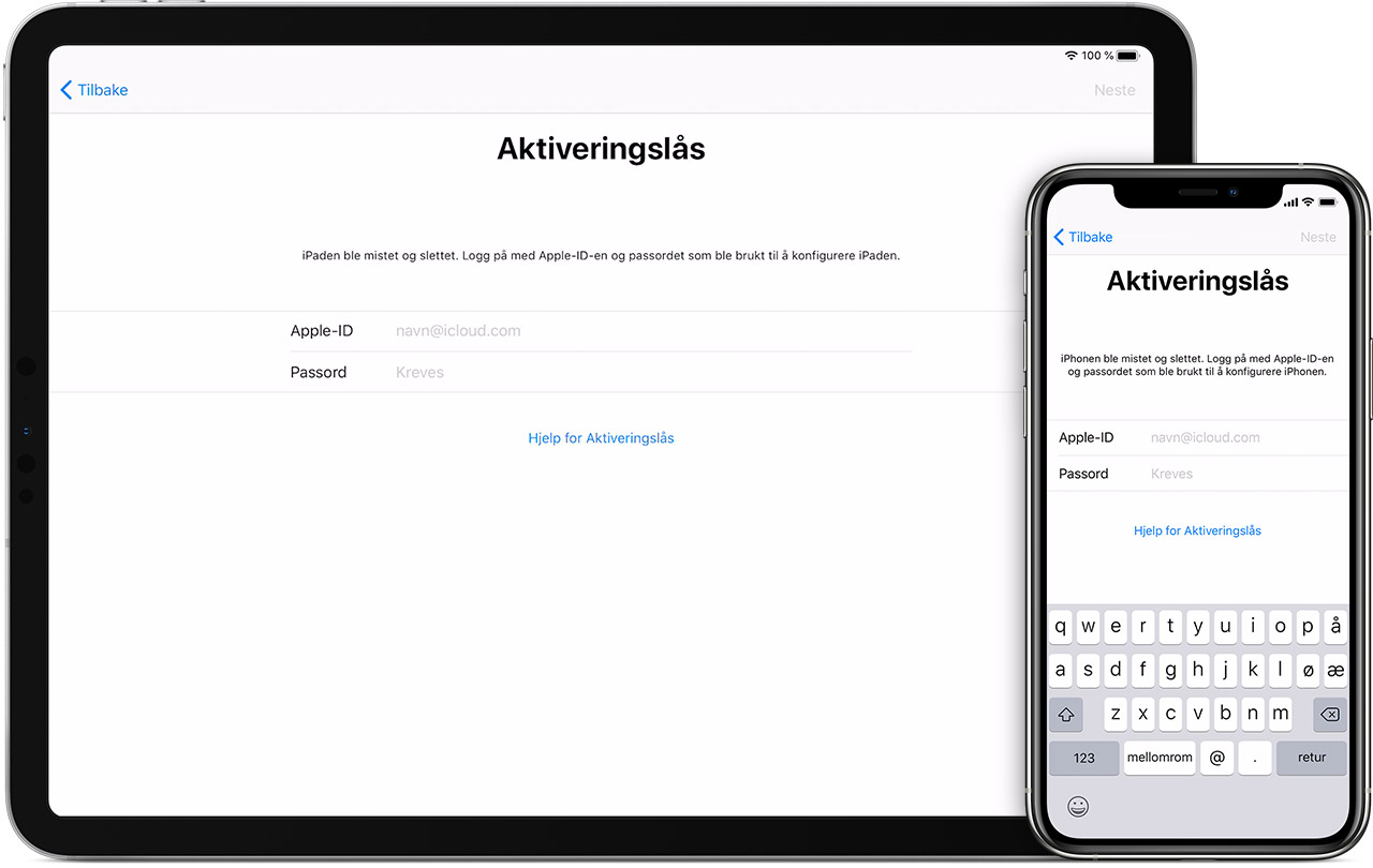 Aktiveringslås på iPad og iPhone