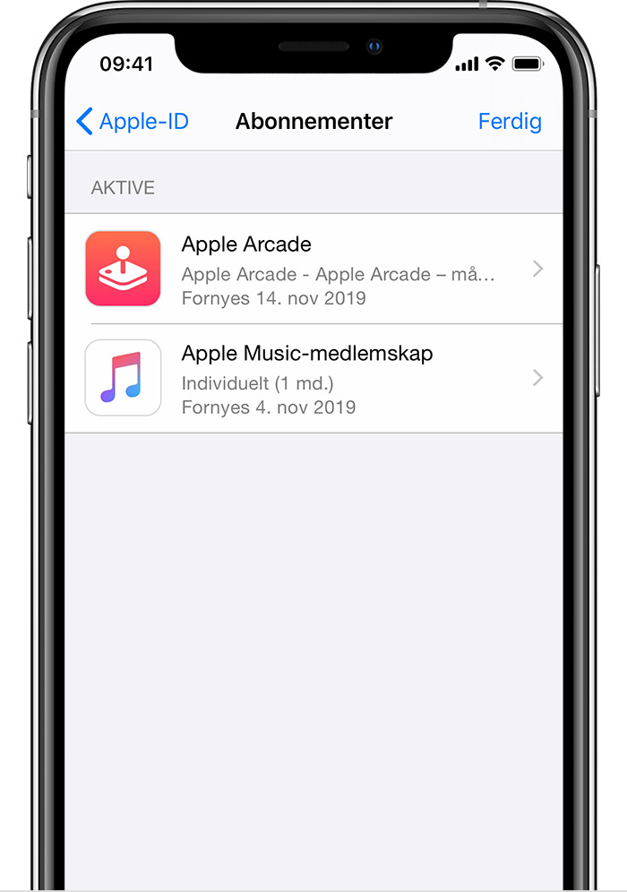 En iPhone som viser abonnementer, inkludert Apple News+ og Apple Music.