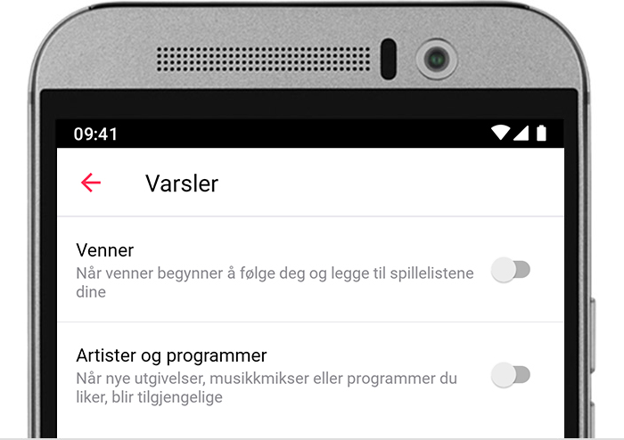 Android-telefon med Varslinger-innstillingene for Apple Music.