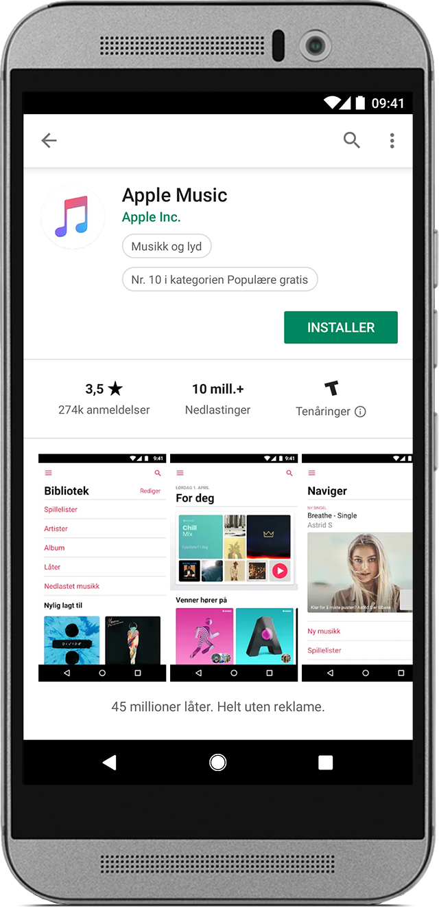 Telefon med Apple Music-appen i Google Play Store.