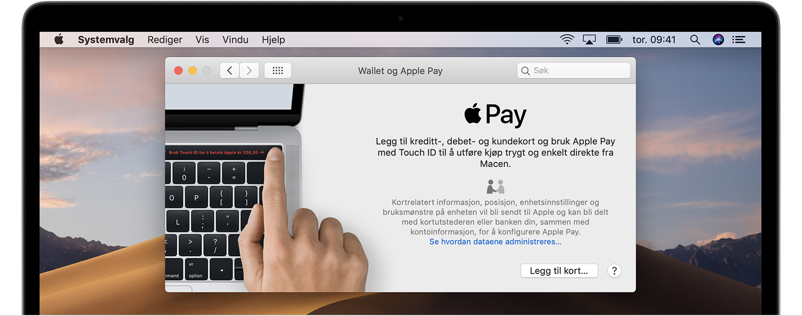 Legg til et kort i Apple Pay på Mac