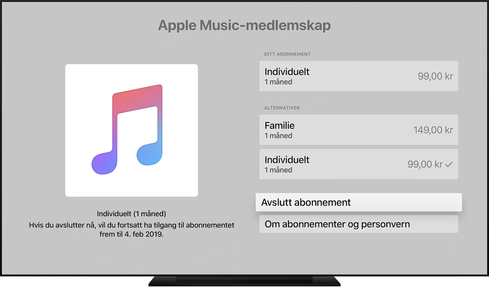 Apple TV som viser et Apple Music-abonnement. Si opp abonnementet er valgt.
