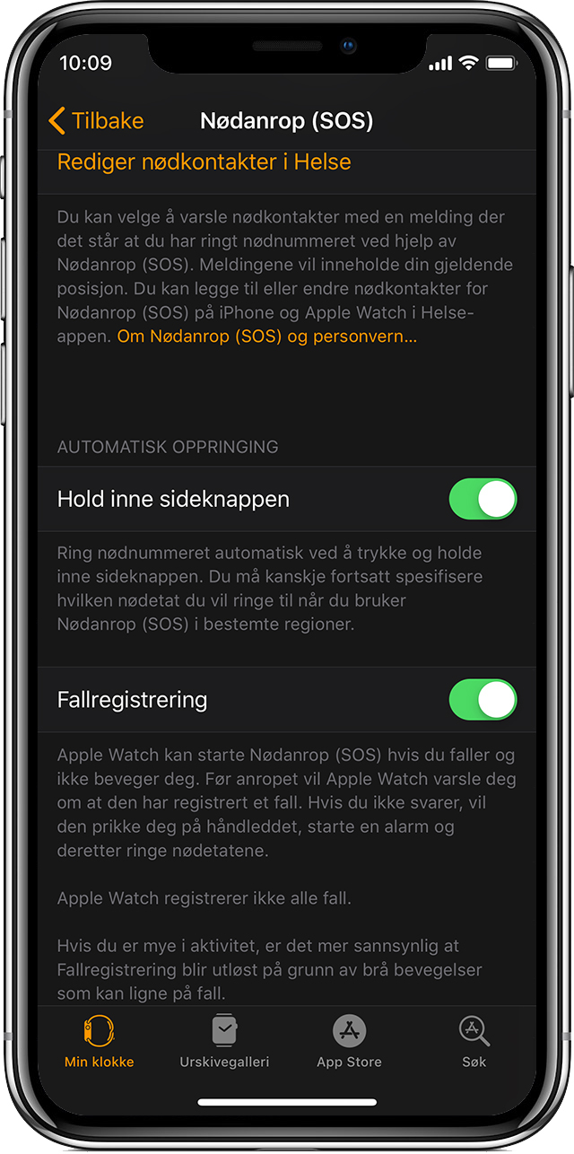 Nødanrop (SOS)-alternativer på iPhone.