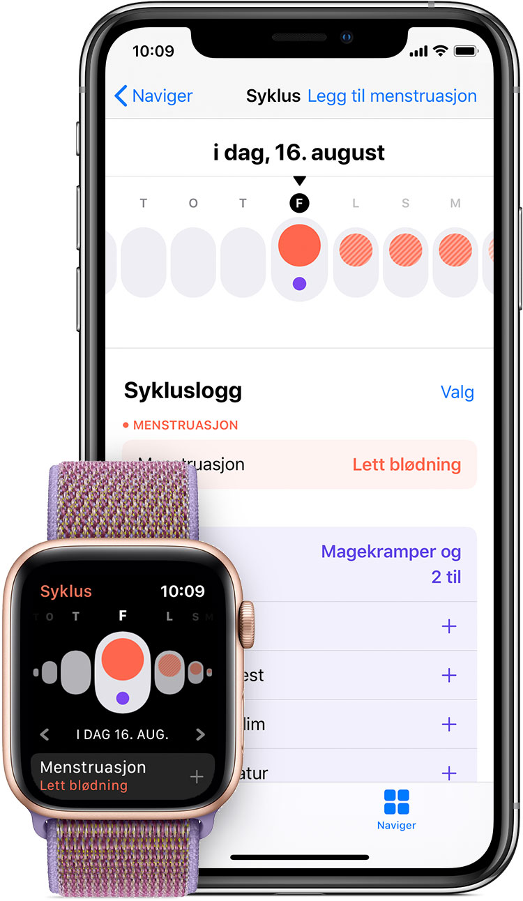 Syklus-appen på Apple Watch og Helse-appen på iPhone
