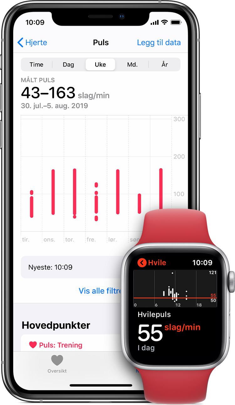 Pulsmålinger i Helse-appen på iPhone og hvilepuls i appen på Apple Watch.