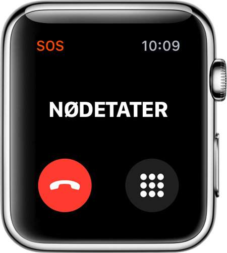 Kontakter nødetater-skjermbilde på Apple Watch