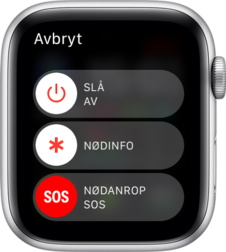 Nødanrop (SOS)-skyveknappen på Apple Watch.