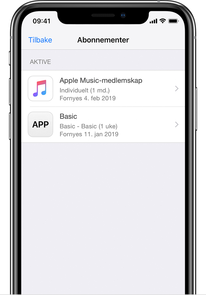 En iPhone X som viser abonnementer på HBO NOW, Apple Music og Hulu.