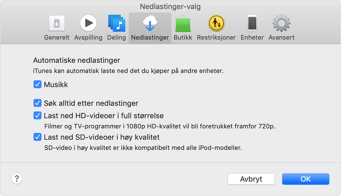 Valgpanelet for iTunes-nedlasting.