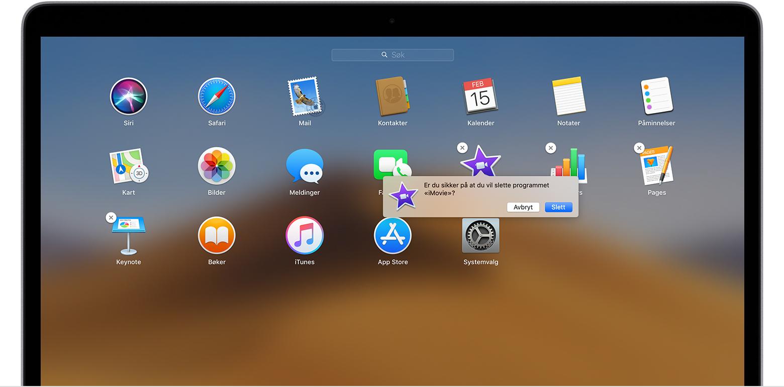 0a00fc8a8 Slik sletter du programmer på Mac - Apple-kundestøtte