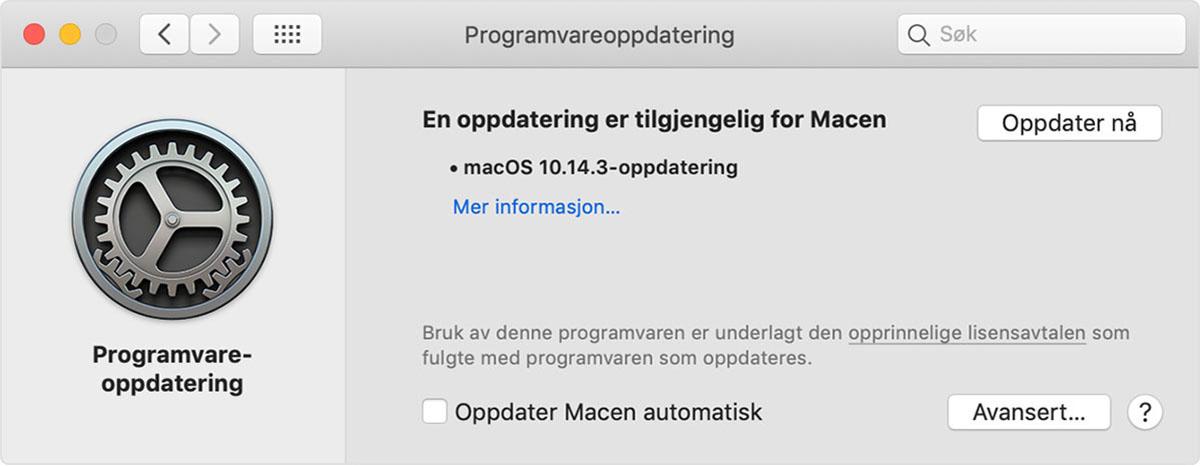 Programvareoppdateringer-valg