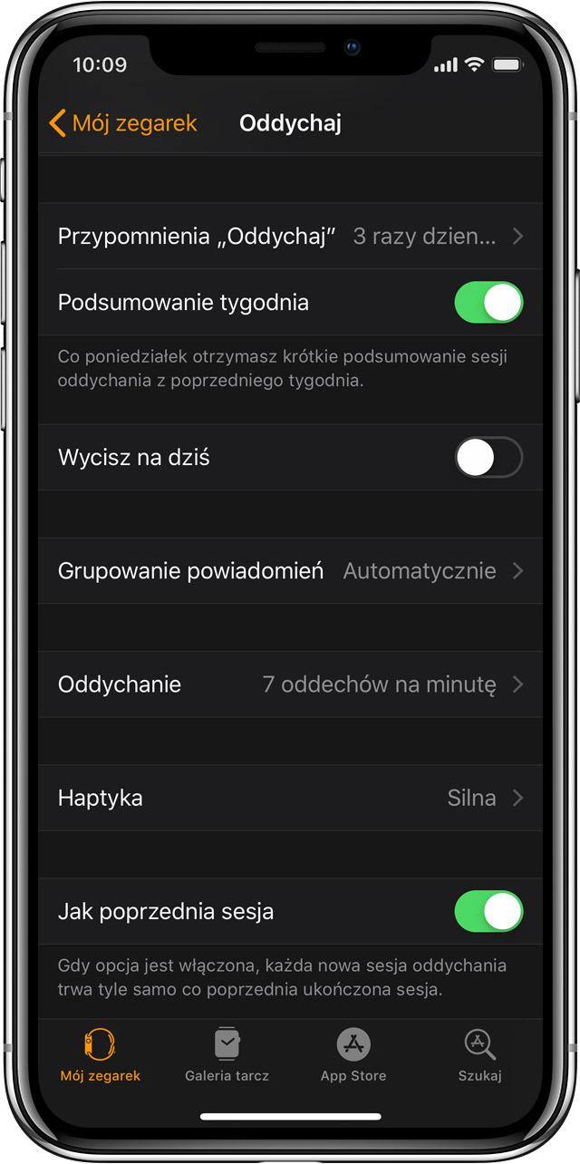 ad6889d30cef0c Ustawienia aplikacji Oddech na telefonie iPhone w aplikacji Apple Watch.