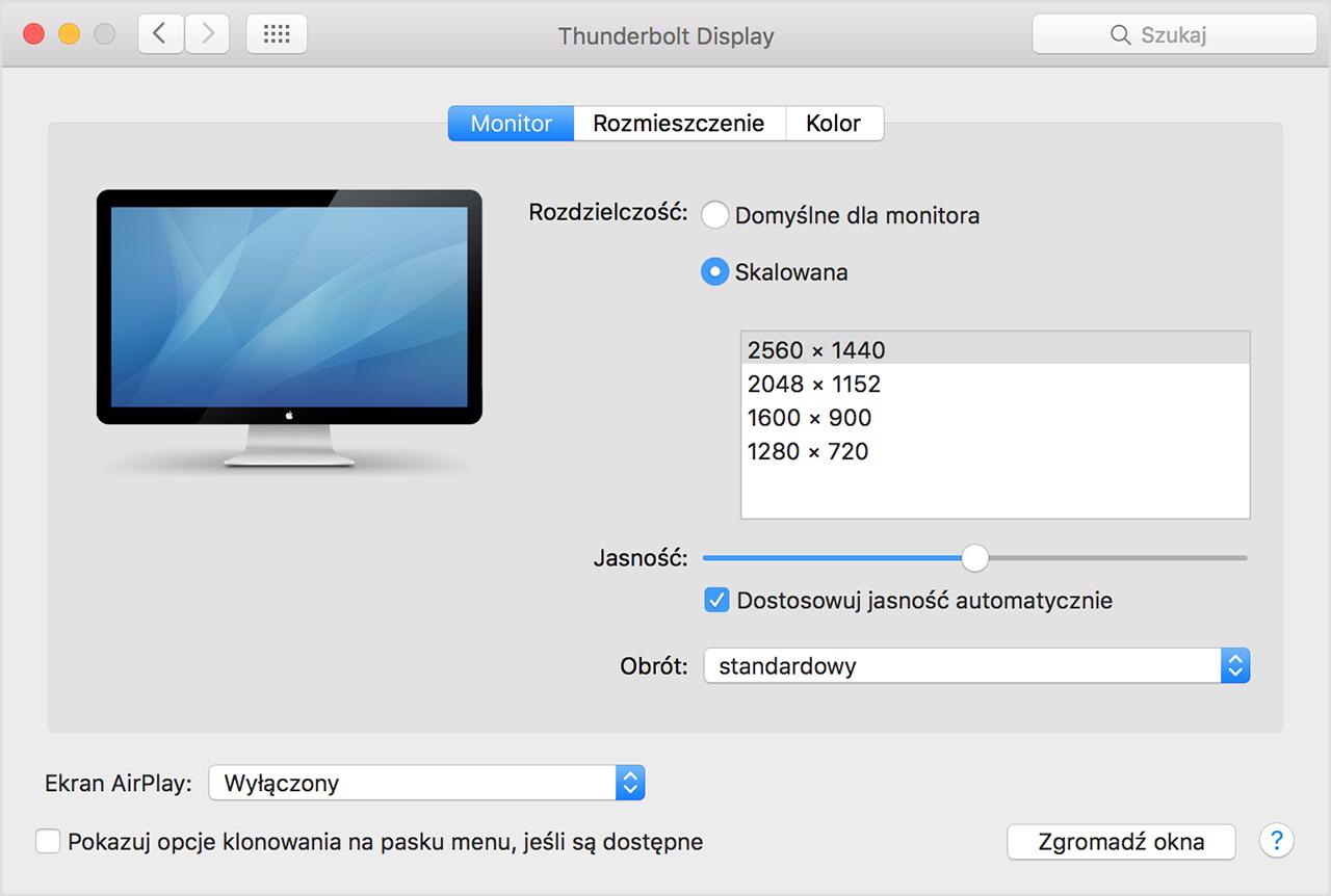 Podłącz projektor do komputera Mac