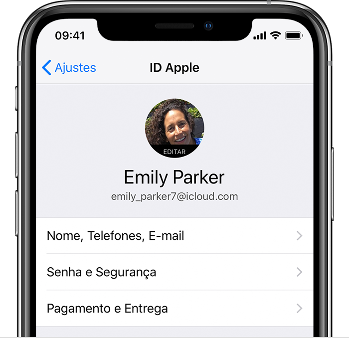 Tela ID Apple nos ajustes do iPhone