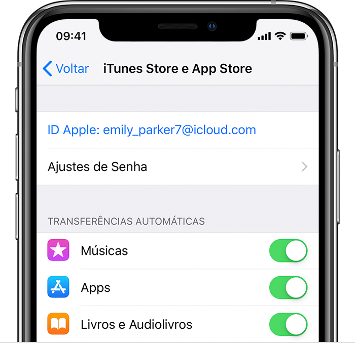 Tela iTunes e App Store no iPhone