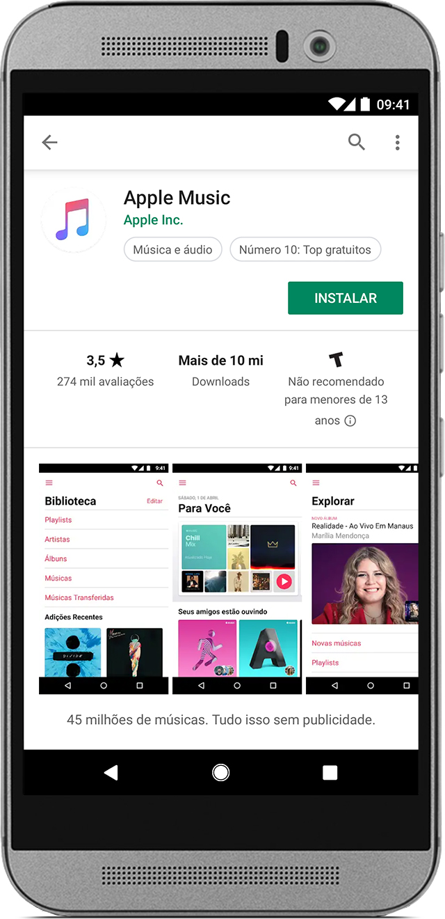 Telefone mostrando o app Apple Music na Google Play Store.