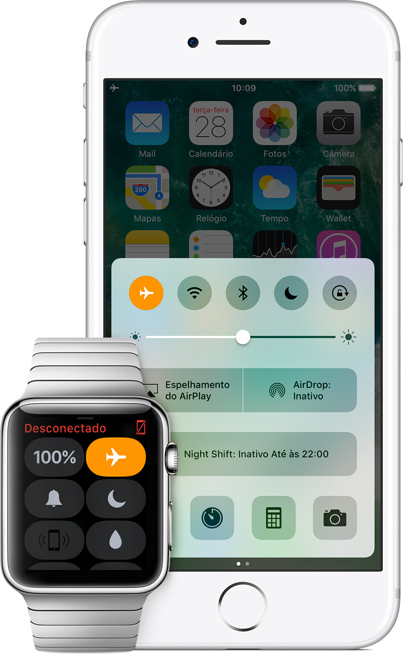 Apple Watch e iPhone no Modo Avião