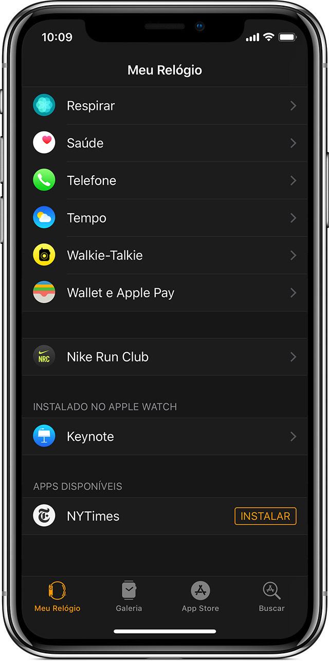 Os apps que você pode instalar aparecem na seção Apps Disponíveis. Os apps  já instalados aparecem na seção