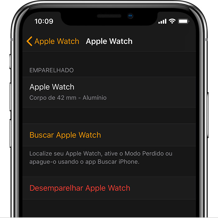 Ajustes do Apple Watch de John no app Watch.