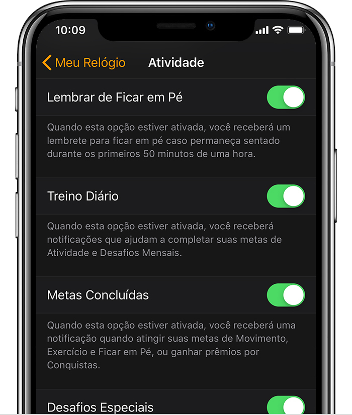 Ajustes de Atividade no app Apple Watch do iPhone.