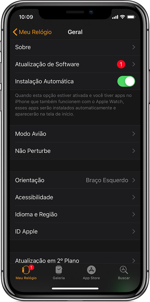 O app AppleWatch mostrando o símbolo de notificação de uma atualização disponível.