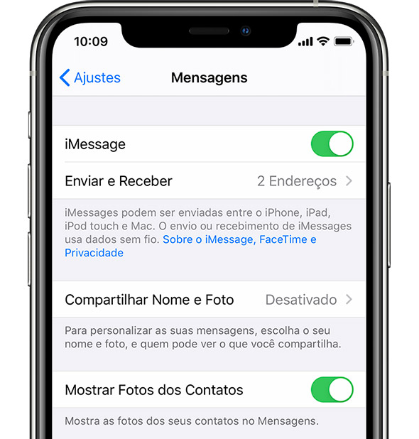 Ajustes do iMessage no iPhone.