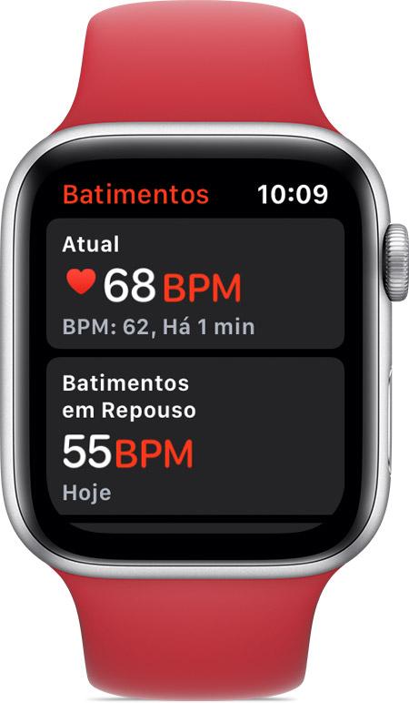 6554a7770f7 App Batimentos mostrando a frequência cardíaca atual de 68 BPM e a  frequência em repouso de