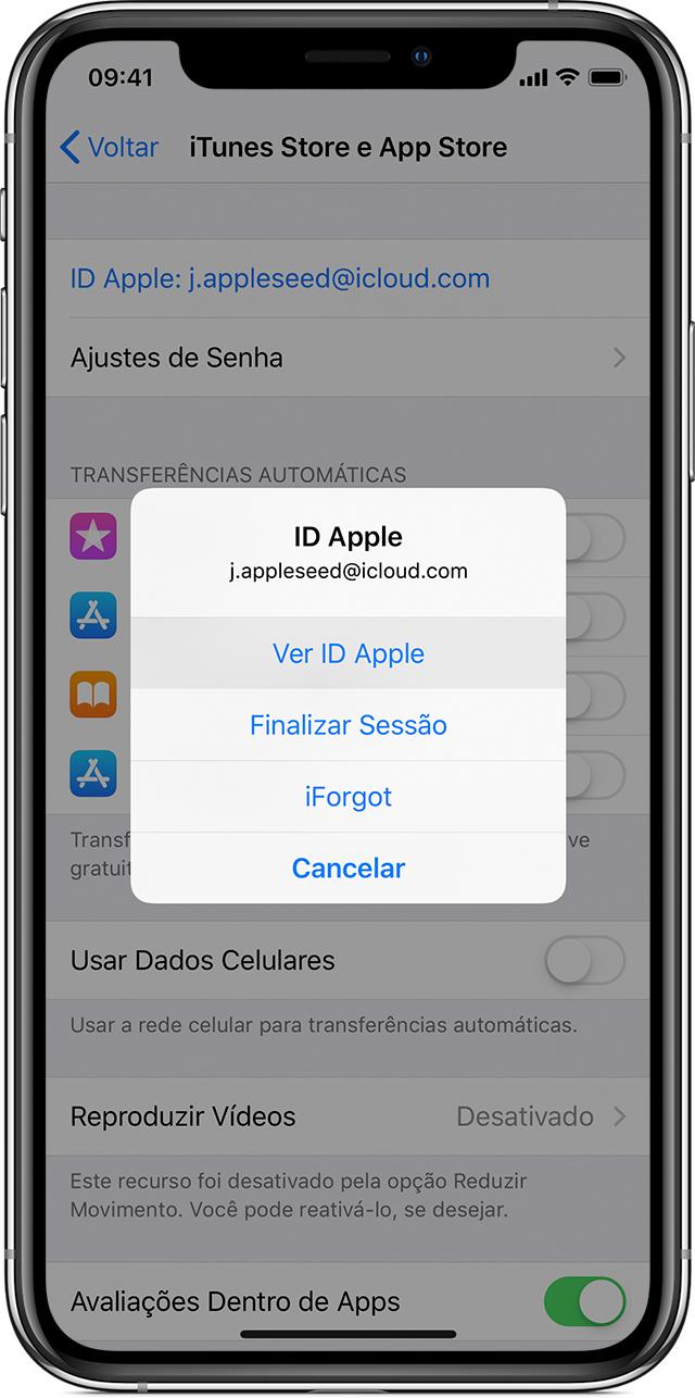 iPhoneX com os ajustes da iTunesStore e AppStore abertos. Um menu aparece em primeiro plano na tela, e a opção