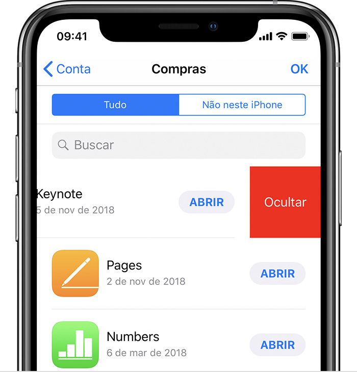 Ocultar compras na App Store - Suporte da Apple