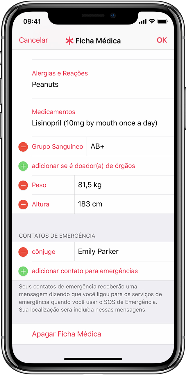 Tela Ficha Médica no iPhone X