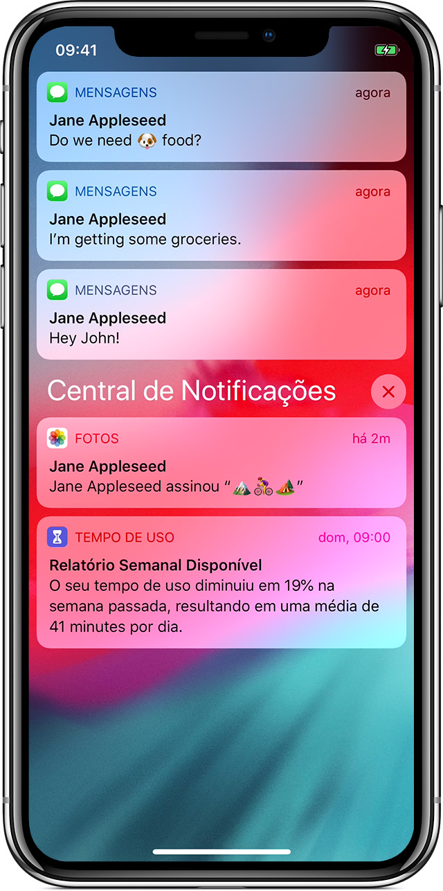 tela mostrando notificações no iPhone X